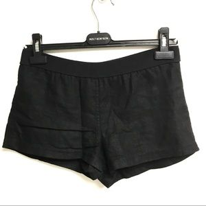 BAILEY 44 Linen Flat Front Pull On Shorts Black XS